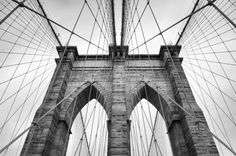 Brooklyn Bridge New York City close up architectural detail in timeless black and white - Buy this stock photo and explore similar images at Adobe Stock Black And White People, Black And White City, Black And White Pictures, Monochrome Photography, City Photography, Black And White Photography, People Photography, Amazing Photography, East Coast Tours