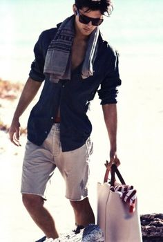Perfect men's summer casual. It is so hard to find men's shorts w/ a perfect length so I'm gonna make cut offs out of khakis!