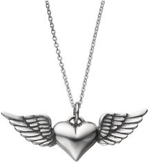 Journee Collection Sterling Silver Heart & Angel Wing Pendant Necklace... ($110) ❤ liked on Polyvore featuring jewelry, necklaces, grey, sterling silver pendant, necklaces & pendants, heart pendant, heart necklace and heart charms