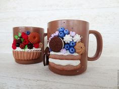 Купить Кружка с тортом и ягодами 2 - коричневый, кружка с декором, кружка с тортом, вкусная кружка