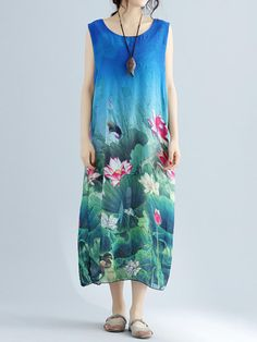 bbde1daba6e Elegant Floral Print Split Sleeveless O-neck Maxi Dress For Women is  high-quality