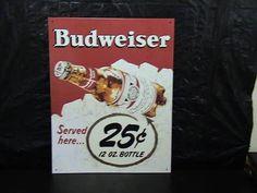 Anheuser Busch Budweiser Tin Wall Sign   $28.52
