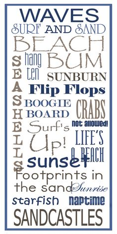 Subway Art Sign  Beach Typography Print 10x20 by PaperBleu on Etsy, $23.00 @Melinda W W W Fugate @Ashley Walters Walters Walters Rice