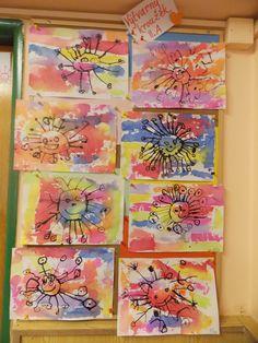 """Malování krepovým papírem - """"Sluníčka"""""""