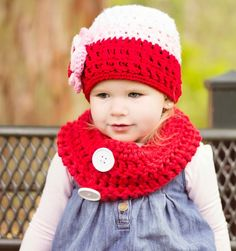 baby,toddler, child, or teen/adult cowl in red chunky scarf with matching tricolor textured beanie large flower with button center warm cozy, $25.00