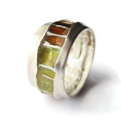 SOLD. Vintage modernist sterling silver ring with inlaid enamel panels, by Joidart of Spain, yellow, orange & brown jewellery, Spanish band. https://www.etsy.com/listing/234604115/vintage-modernist-sterling-silver-ring