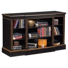 Check out this item at One Kings Lane! Garrett Low Bookcase, Black/Gold