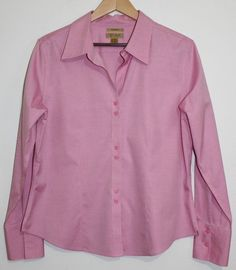 $24.95 OBO Women's Gold Label Investments Non Iron Pink Button Down Shirt Top Size: 14 #GoldLabelInvestments #ButtonDownShirt #Career
