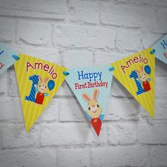 Harry the Bunny Personalized Highchair Banner
