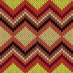 Knitting seamless zigzag pattern in warm hues — Stok Vektör © natreal #125239190