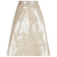 Oscar de la Renta Sequin A-Line Midi Skirt (£2,525) ❤ liked on Polyvore featuring skirts, white a line skirt, knit a line skirt, midi skirt, a line midi skirt and mid calf skirts