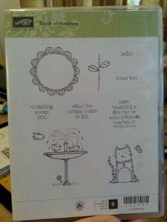 Stampin Up TOUCH OF KINDNESS Clear Mt Stamp Set CAT Flower Birds Frame Sayings #StampinUp #Frame