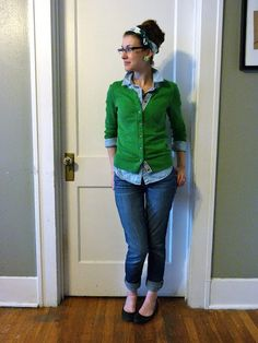 green cardigan, chambray button-down, jeans