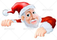 Happy cartoon Santa pointing down ...  above, background, behind, billboard, board, card, cartoon, character, christmas, claus, copy, cute, father, father christmas, finger, holding, invitation, invite, placard, pointing, red, santa, santa claus, santa pointing, showing, sign, signboard, space, top, xmas