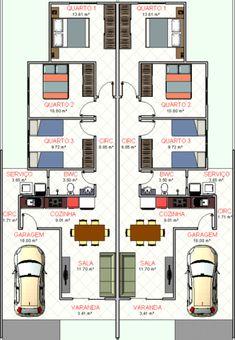 plantas de casas geminadas de 2 quartos