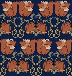 Poppies by CFA Voysey, c 1888, lustrous shades of midnight blue and orange with highlights of gold and grey green make for a rich pattern