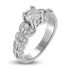 0.94 ct Vintage style Diamond Ring 18k White Gold