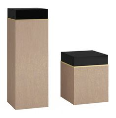 Block Pedestal - Contemporary, Mid-Century / Modern, Transitional Glass, Wood Pedestal by Carlyle Collective