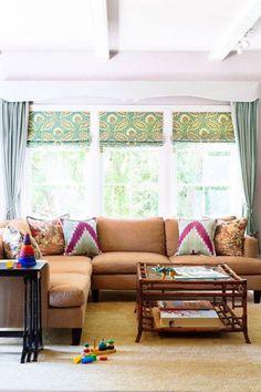 I love the colours in this living room, especially the zigzag cushions.
