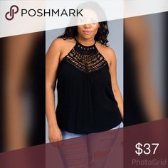💣PLUS💣Lacee Halter Top in Black Halter top with front lace details. Also available in brick red under a separate listing. Tops