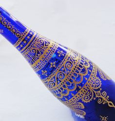 Cobalt Blue Henna Mehndi Gold Painted Olive Oil Dispenser Bottle  www.facebook.com/behennaed  tags: Glass  Glassware  henna  mehndi  boho  bohemian  cooking  oil  massage  stir fry  India  Morocco  curry  vegan organic wok