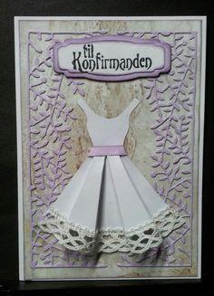 Kort. Confirmation Cards, Iris Folding Pattern, Paper Art, Paper Crafts, Female Girl, Origami, Card Making, Greeting Cards, Disney Princess