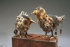 Atrox & Cuprosa by Geoffrey Gorman Eclectic Sculptures, Animal Sculptures, Lion Sculpture, Found Object Art, Junk Art, Assemblage Art, Recycled Art, Mixed Media Art, Art Dolls