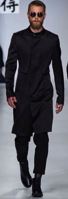 'Indian' Style Black Wool Top Coat, and Slim Black Pants. Men's Fall Winter Fashion.