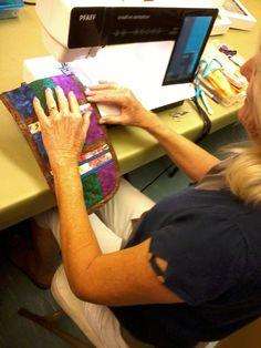 Carol creating a purse