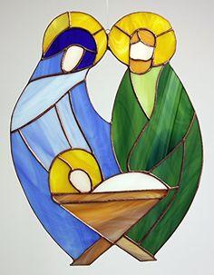 """Glas- Fensterbild, Glashänger """"Krippe"""" Glasbild: 28 x 21 cm, Tiffany Glas Manoeye http://www.amazon.de/dp/B00OY5RXXE/ref=cm_sw_r_pi_dp_Nh1twb0PGAWFK"""