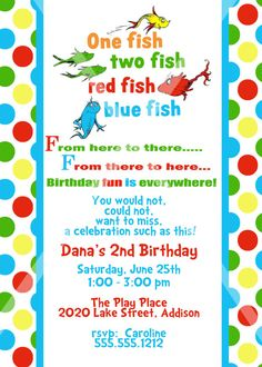 One Fish Two Fish #Seuss #party #invitation