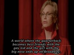 """The second hour of the series finale flashed forward five years in the future, where Sue Sylvester (Jane Lynch) was vice president (yes, of the U.S.) and she returned to McKinley, which had become a performing arts school, and showed how much she'd grown. 