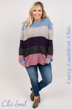 a97a1b37447 Colorful stripes are our newest obsession! This sweater has a super cozy