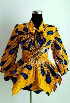 African print Bow Top Ankara Asymmetric Double peplum Top African Clothing Gold/ yellow Ankara women clothing ON SALE Elegant African print Bow Top Ankara AsymmetricON SALE Elegant African print Bow Top Ankara Asymmetric African Print Fashion, Africa Fashion, African Fashion Dresses, African Attire, African Wear, African Dress, Fashion Prints, Fashion Design, Fashion Ideas