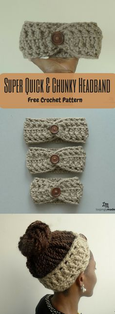 Quick and Chunky Headband- Free Crochet Pattern A quick and chunky crochet headband to make.A quick and chunky crochet headband to make. Bonnet Crochet, Crochet Headband Pattern, Crochet Beanie, Chunky Crochet Hat, Knit Headband, Crocheted Hats, Crochet Cardigan, Crochet Simple, Crochet Diy