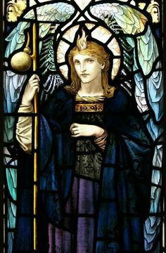 """Antique hand painted stained glass window """"St Raphael"""" by William Glasby Stained Glass Church, Stained Glass Angel, Stained Glass Paint, Stained Glass Windows, Mosaic Glass, Glass Art, San Raphael, I Believe In Angels, Archangel Michael"""