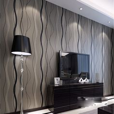 QIHANG High-grade Non-woven Flocking Simple Curve Style Wallpaper Roll Black&gray Color 3d Wallpaper Roll, Wall Art Wallpaper, Striped Wallpaper, Textured Wallpaper, Peel And Stick Wallpaper, Striped Room, Prepasted Wallpaper, Beautiful Living Rooms