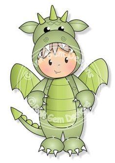 Digital Digi Dragon Josh Stamp Little Boy por PinkGemDesigns