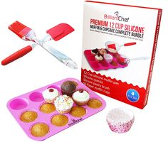 Premium 12 Cup Silicone Muffin Pan and Cupcake Pan Complete Bundle - BEAUTIFUL BAKING SET - Muffin Pan   Spatula   Pastry Brush   Paper Cups - Best Cupcake Baking Pan * Details can be found at : Baking pans