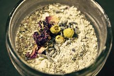 Lavender Floral Facial Mask (softening, healing for all skin types)  2 Tbsp combined (equal parts) ground lavender, rose buds/petals, chamomile – sifted through a fine-mesh sieve  2 Tbsp bentonite clay (or any cosmetic clay)  1 Tbsp full-fat powdered, organic milk  1 Tbsp finely ground oats