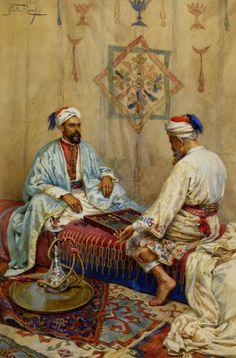 Giulio Rosati (1858-1917)-'a game of backgammon'-watercolour