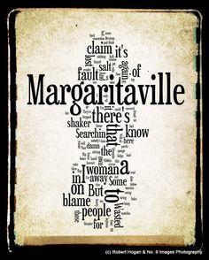 Margaritaville Lyrics - Jimmy Buffett Word Art - Word Cloud Art 8x10 Print - Gift Idea. $15.00, via Etsy.