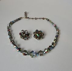 Vintage AB Smoky Gray Faceted Crystal Necklace and Earrings set. by Cosasraras on Etsy