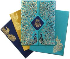 Shop www.regalcards.com for this luxurious Peacock theme invitation card. Comes with two mesmerizing matching inserts and a designer matching envelope. #Peacockthemeinvitations #designerweddingcards #luxuriousinvites #Interfaithmarriagecards #regalcards #regalcardscom #Inviteinstyle