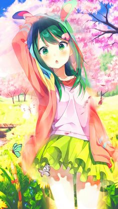 Phone wallpaper 1 hello spring by aritsa on deviantart Anime Girl Cute, Beautiful Anime Girl, Kawaii Anime Girl, Cute Anime Couples, Anime Art Girl, Manga Girl, Anime Girls, Lolis Anime, Chica Anime Manga
