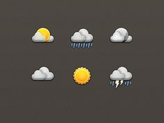 Weather Icons designed by James Cipriano. Connect with them on Dribbble; Daily Weather, Weather Icons, Interface Design, Icon Set, Icon Design, Brushes, Slot, Illustrator, Symbols