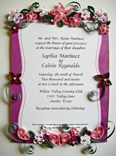 Wedding Commemorative Keepsake With Quilling