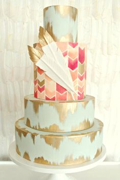 hand painted aztec cake