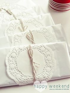 Doily wrapping . chocolate bars...make sure to get 70% cocoa or higher for more nutrients :)