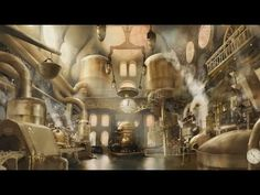 Concept Art / Set Design for a TV Commercial Manner Chocolate Factory Steampunk City, Steampunk Images, Candy Factory, Fantasy Background, Fantasy Castle, Fantasy Art, Art Anime, Chocolate Factory, Visual Development